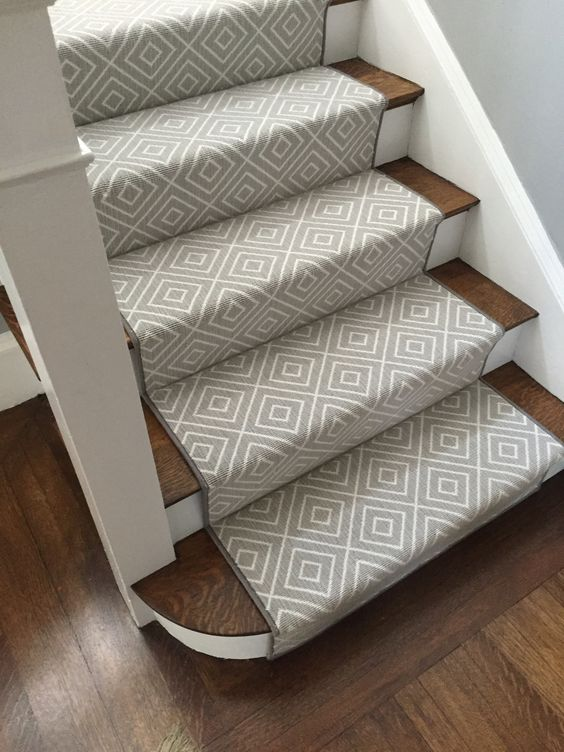 Greige Geometric Stair Runner. Waterfall Application Down Stairs.
