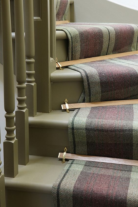 Olive,black & eggplant wool plaid stair runner with decorative brass stair rods.