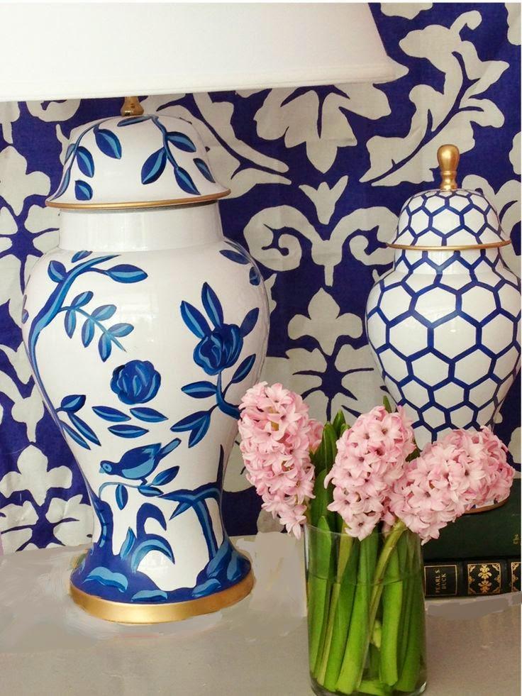 Dana Gibson bold blue tole lamp