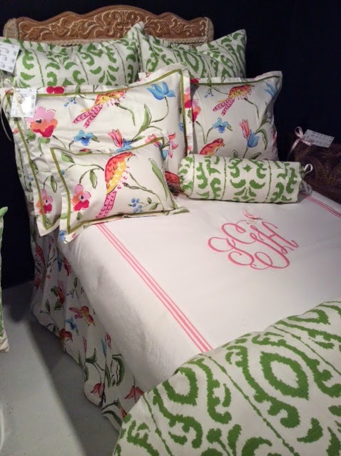 Jane Wilner's custom line of bedding by Dana Gibson, Peregrine bird fabric, Madagascar fabric