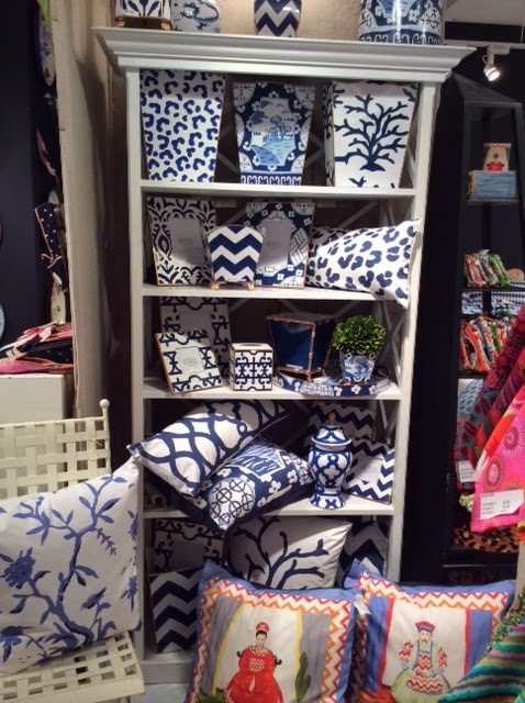 Dana Gibson's line of colorful and bold home accessories in blue