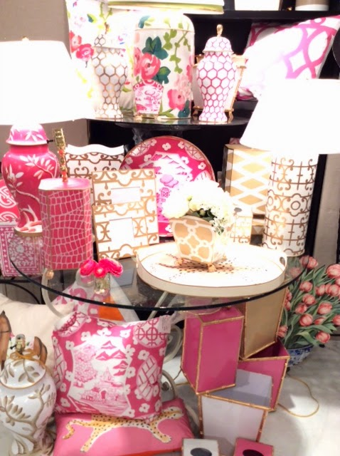 Dana Gibson's line of colorful and bold home accessories in pink