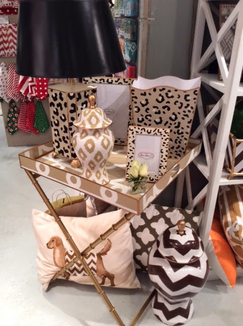 Dana Gibson's line of colorful and bold home accessories in browns and beiges