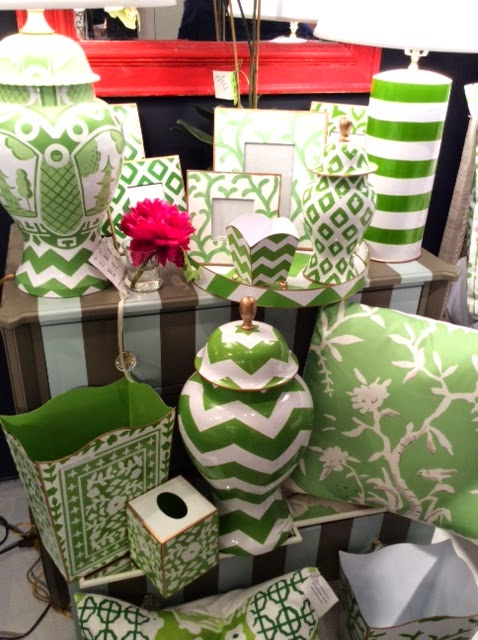 Dana Gibson's line of colorful and bold home accessories in green
