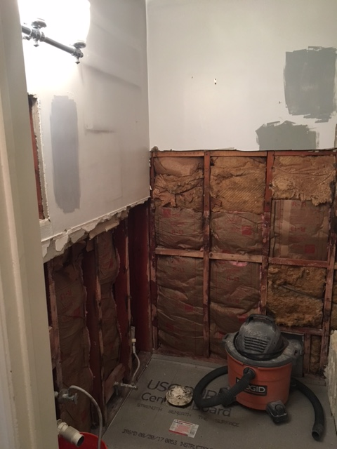 Wall tile and medicine cabinet removed