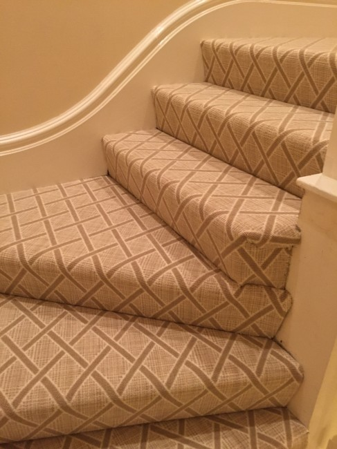 An example of a fully upholstered stair runner.